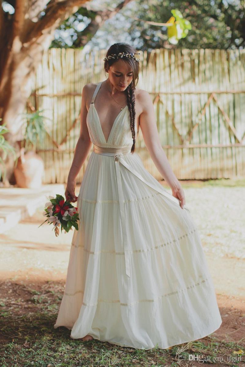 5a2e84e8e8 Discount 2018 Sexy Deep V Neck Beach Wedding Dresses Spaghetti Straps Open  Back Summer Bohemian Wedding Dress Vestido De Novia Civil Wedding Dresses  Cream ...