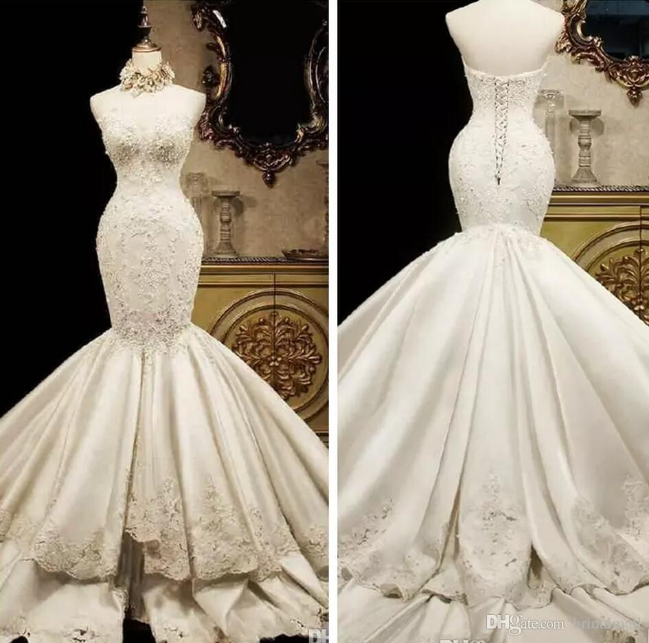 Lace Mermaid Wedding Dresses 2018 Sweetheart Luxury Fish Tail Slim Waist Satin Big Long Train Princess Bridal Gowns Lace Up Back Tiered