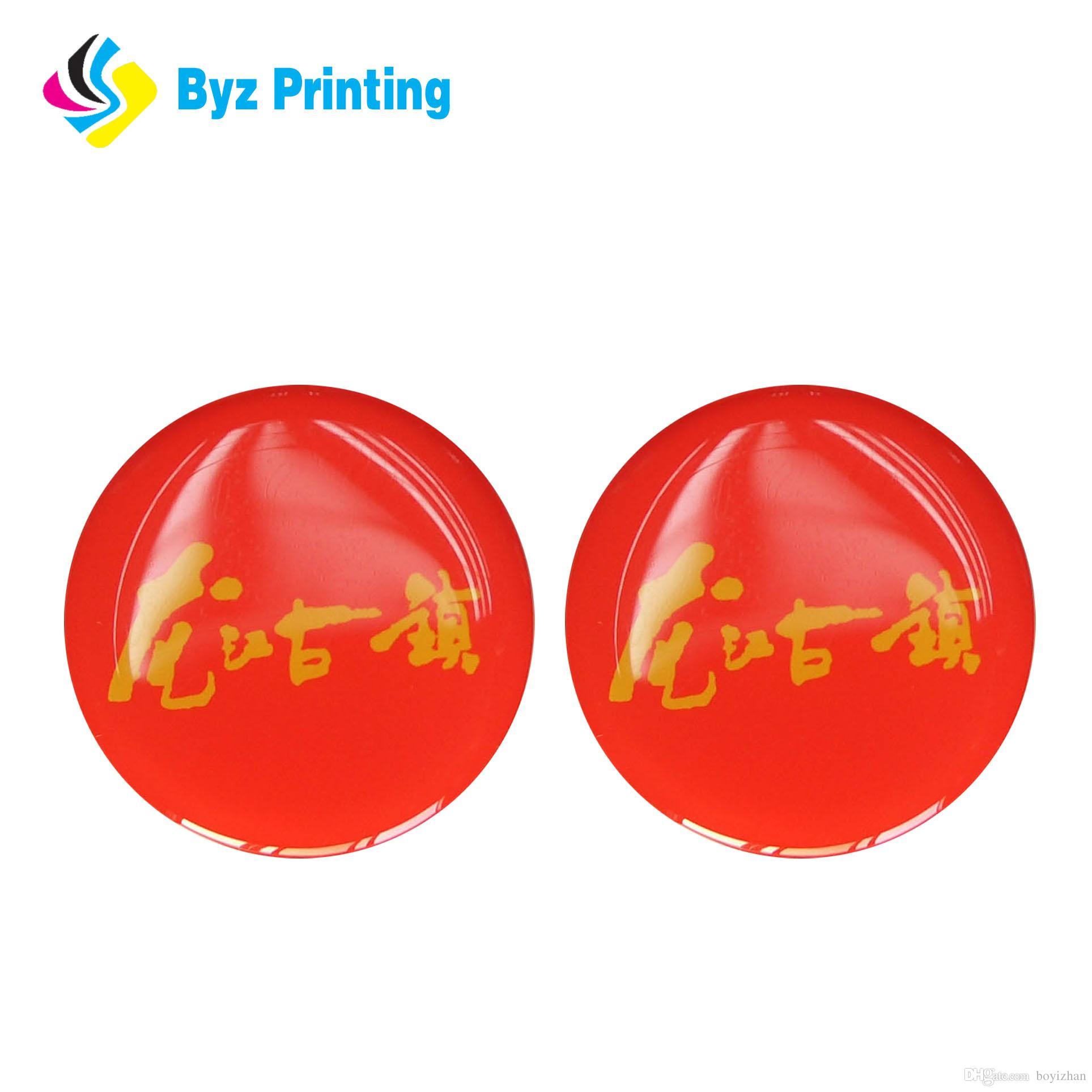 Epoxy logo printing sticker die cut dome sticker nice flower sticker with logo company name