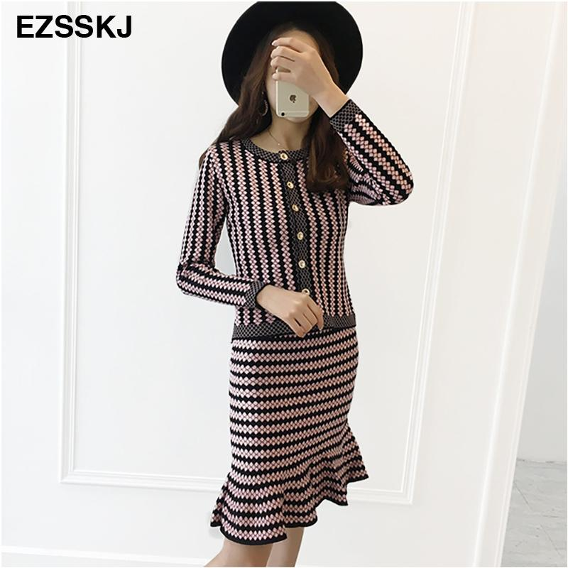 9185aba4906 2019 2018 Office Ladies Elegant Knit Cardigans Step Skirt Suits Short Slim  Striped Sweater Tops Mini Skirts Sets Women Dress Set D18110602 From  Lizhang02
