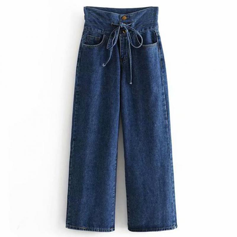 6151902615 Compre Mujeres Vintage Denim Pantalones Anchos De Las Piernas Bolsillos  Bottons Pajarita Abierta Decorar Pantalones Damas Marca Casual Pantalones  Feminino A ...