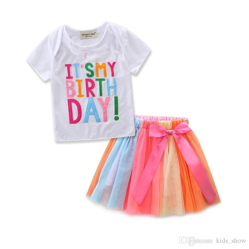 It's my Birthday Children Girls Sets Summer Casual Clothes Short Sleeve Tops T-shirt +Rainbow Color Skirts Girls Pretty Outfits