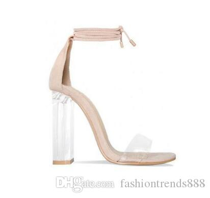 70cef783146 Pink Nude Faux Suede High Heels Women Sandals Transparent PVC Ankle Strap  Women Pumps Lace Up Clear Block Heels Shoes Blue Shoes Cheap Sandals From  ...