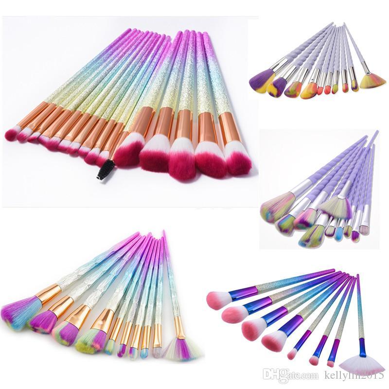 Rainbow Makeup Brushes Set Diamond Eyes Powder Foundation Fan Brush Cosmetics Beauty Tools Multipurpose Make up Brushes Kit