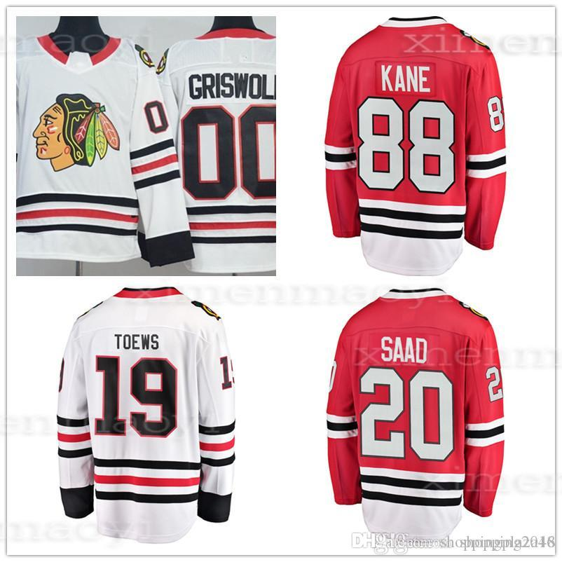 e08fbfdaa 88 Patrick Kane 19 Jonathan Toews 20 Brandon Saad 00 Clark Griswold 2018  New Men s Chicago Blackhawks Hockey Jersey Stitched Patches Lo Chicago  Blackhawks ...
