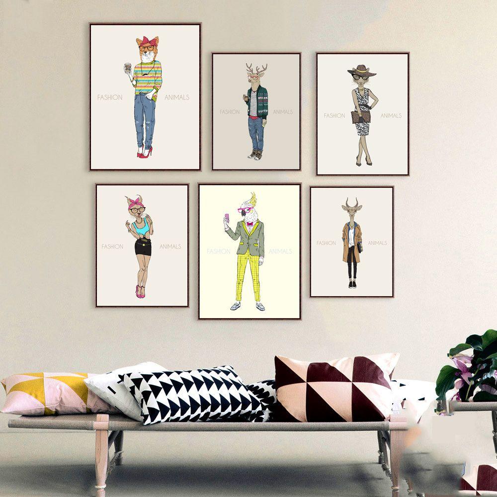 Acheter Nordique Peinture Sur Toile Design De Mode Designers De Salon  Affiche Créatif Hipster Animaux Mur Photo Pour La Maison Décoration Peintures  De $6.28 ...