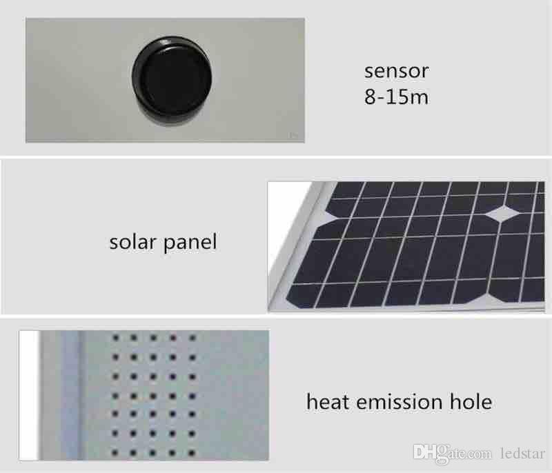 20W 30W 50W Led luz de calle solar Radar Sensor LED Luz de carretera Waterrpoof IP66 ciclos 8 años Vida útil Mono Panel solar Lámpara de seguridad