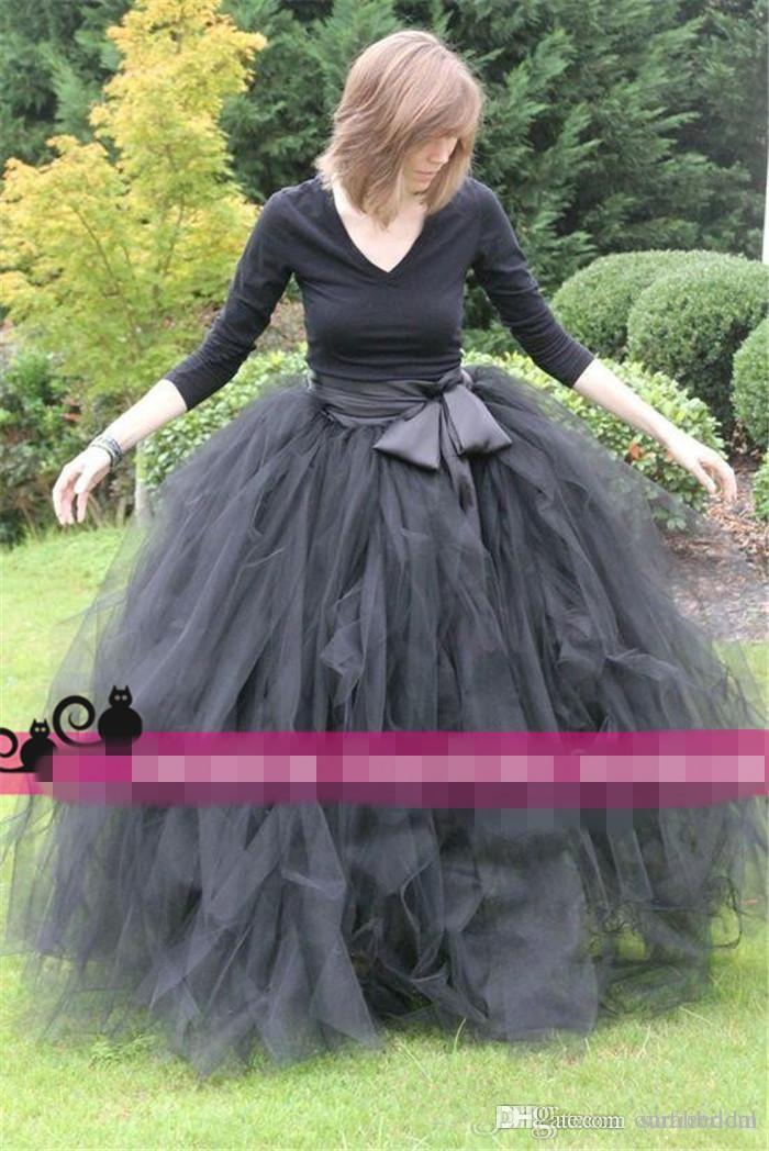 2019 Tutù lungo Tulle Maxi Maxi gonna a figura intera Matrimoni e abbigliamento formale Classico Grigio Abiti da ballo donne Ragazza Overskirt Abiti da cocktail