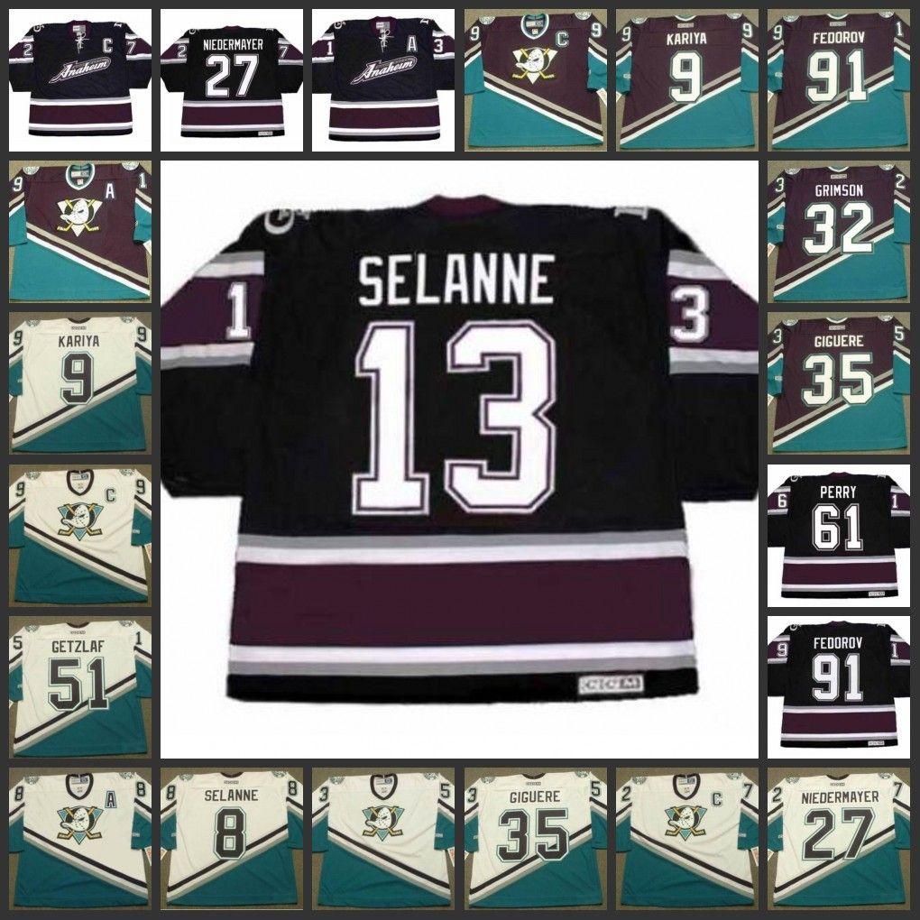 69758e1ab Mens ANAHEIM MIGHTY DUCKS 51 RYAN GETZLAF 13 TEEMU SELANNE Retro CCM  Vintage Alternate Retro Ice Hockey Stitched Customized Jersey UK 2019 From  Gamemen