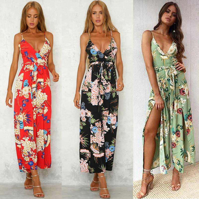 64866b2f8a3 2019 Women Summer Boho Jumpsuits Playsuits Floral Printed Spagehetti ...