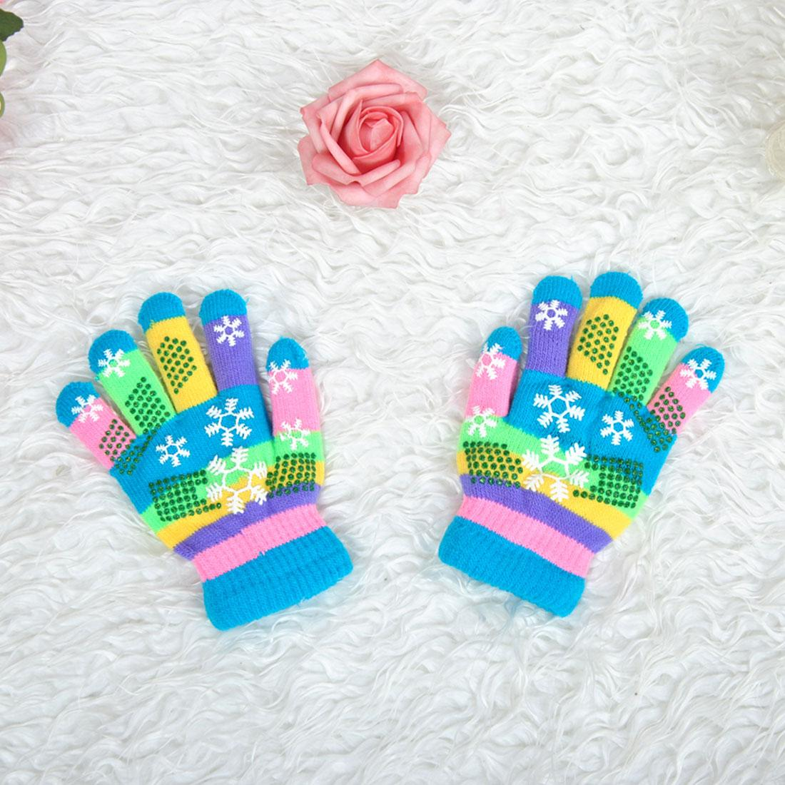 charming winter fashion children bi layer thickened warm snow print xmas colored yarn knit gloves random color s m l knit childrens mittens easy pattern