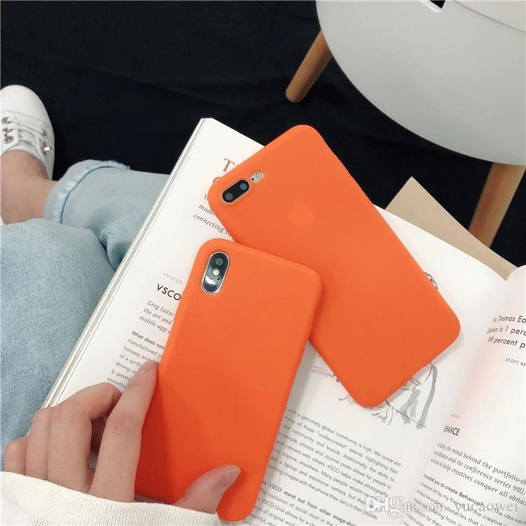 premium selection f575e 53f3b Slim Soft Silicone Case Cover Orange Phone Cases Shell with Dust Cap For  iPhone X
