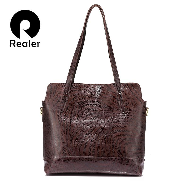 REALER Brand Women Tote Bag Large Capacity Handbag Genuine Leather Shoulder  Bag Female Crossbody High Quality Cow Leather Satchel Handbags Ladies Purses  ... 5a5b6fdd3c