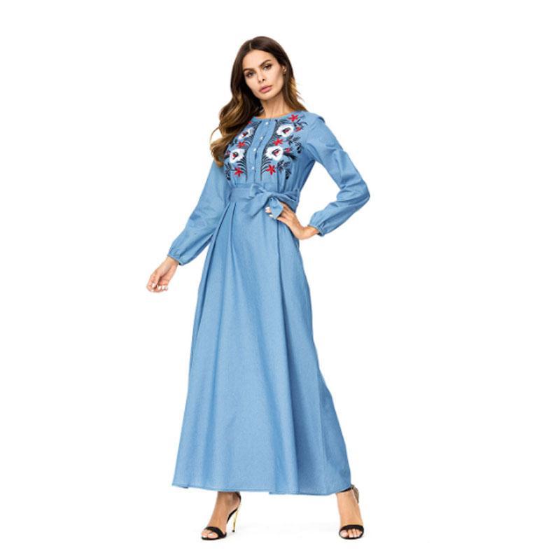 9eb9623fc76 Купить Оптом Небесно Голубой С Длинным Рукавом Длинные Джинсовые Платья С  Поясом