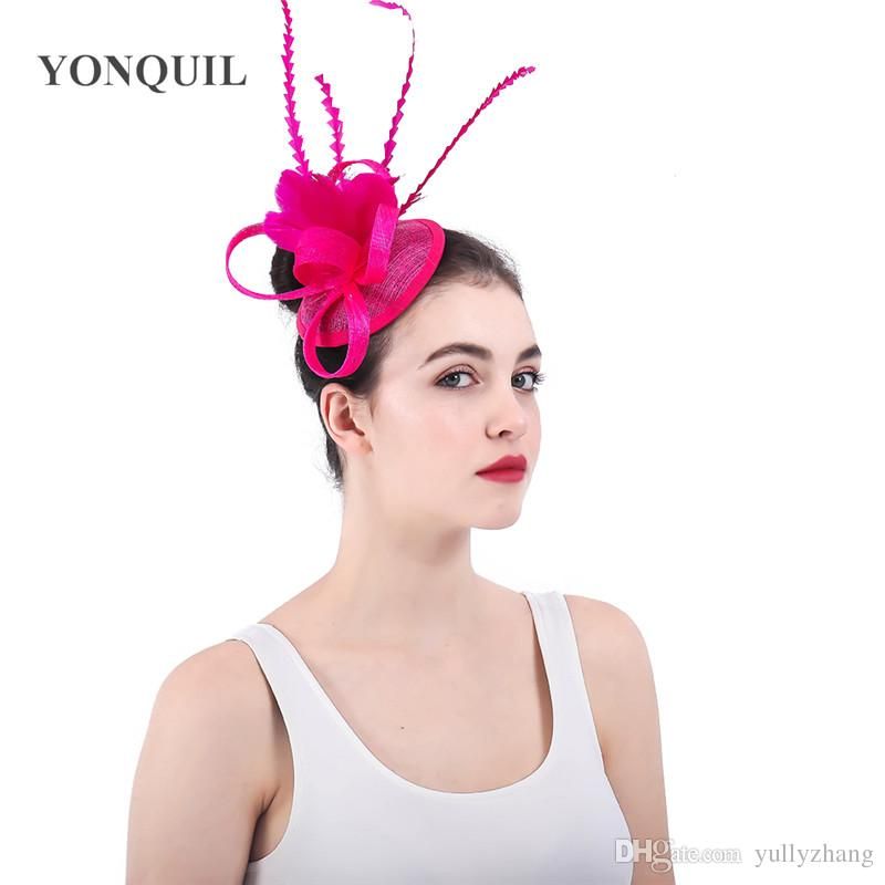 2019 Vintage Fascinators Wedding Bridal Headwear Beautiful Hair Accessories  Handmade Sinamay Pillox Hats For Elegant Women Derby Headpiece SYF363 From  ... 3504458d15a