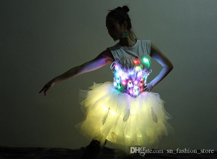 LZ09 Stage Luminous Clothing Nightclubs Bar Sexy Women wears led costumes lighted dresses ballroom dance singer cloth skirt led performance