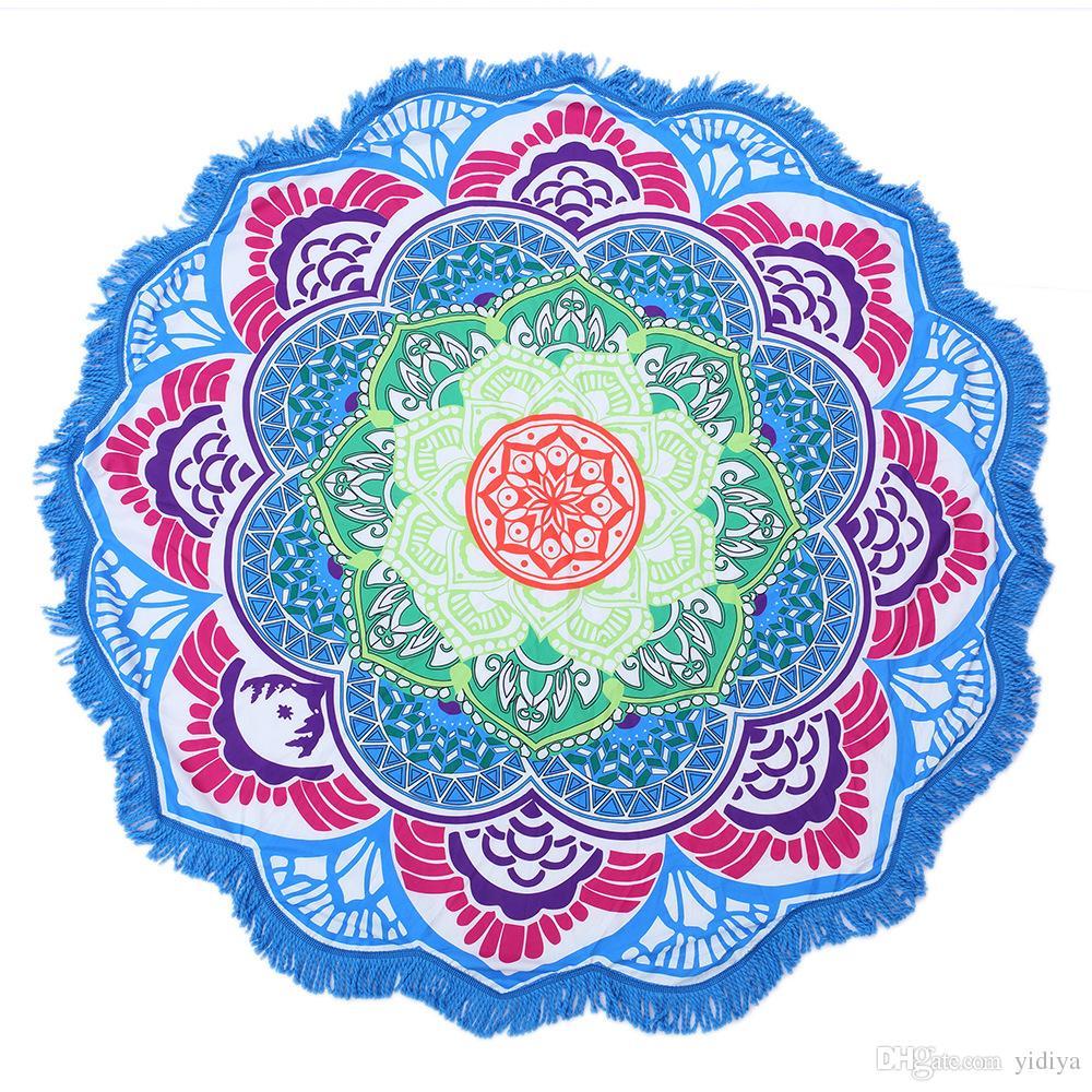 eaba81f315491 Tassel Mandala Tapestry Indian Lotus Printed Bohemian Beach Throw Towel  Sunblock Blanket Tapestry Yoga Mat Home Decor Hand Woven Tapestry Handmade  Tapestry ...