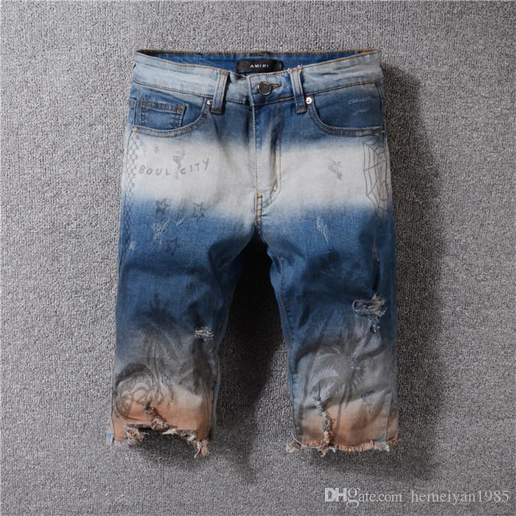 High Street Rouge Hombre Denim Stretch Short Blanc Court Taille Homme Noir Punk Grande Jeans Décontracté 542 67bfgy