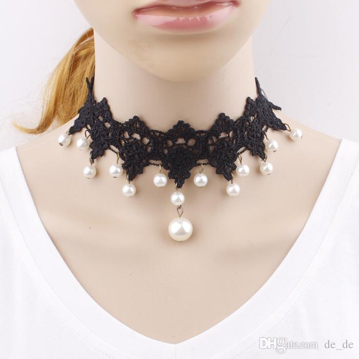 Wholesale- New Fashion Elegant Vintage Imitation Pearl White Lace Statement Choker Necklaces Bridal Jewelry For Women Wedding C77
