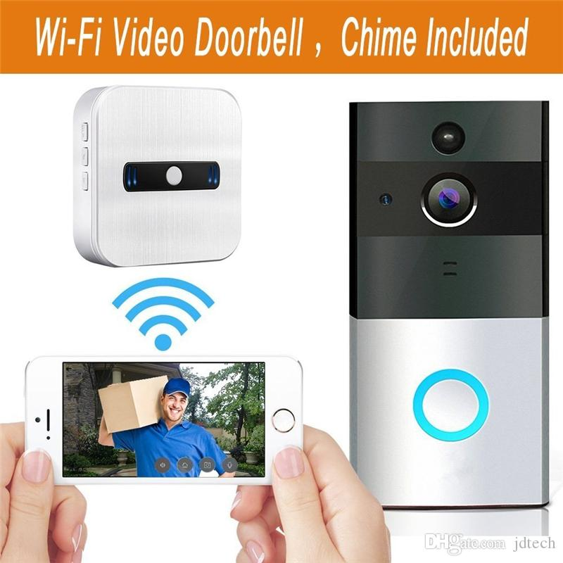 Wifi Wireless Video Doorbell 720P HD Smart Doorbell with Chime Infrared Night Vision PIR Motion Alerts Two-Way Talk Video for IOS Android