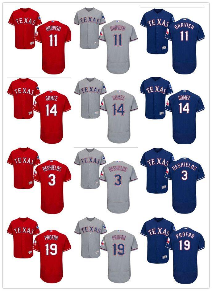 size 40 519b5 82888 Men's Texas Rangers Jersey #3 Russell Wilson 3 Delino DeShields 11 Yu  Darvish 14 Carlos Gomez 19 Jurickson Profar Baseball Jerseys
