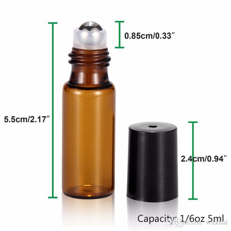 المحمولة 50 قطعة / الوحدة 5 ملليلتر 1/6 أوقية مصغرة لفة على زجاجة عطر العطور الزجاج زجاجات زجاجات الضروري النفط الصلب الرول الكرة العنبر