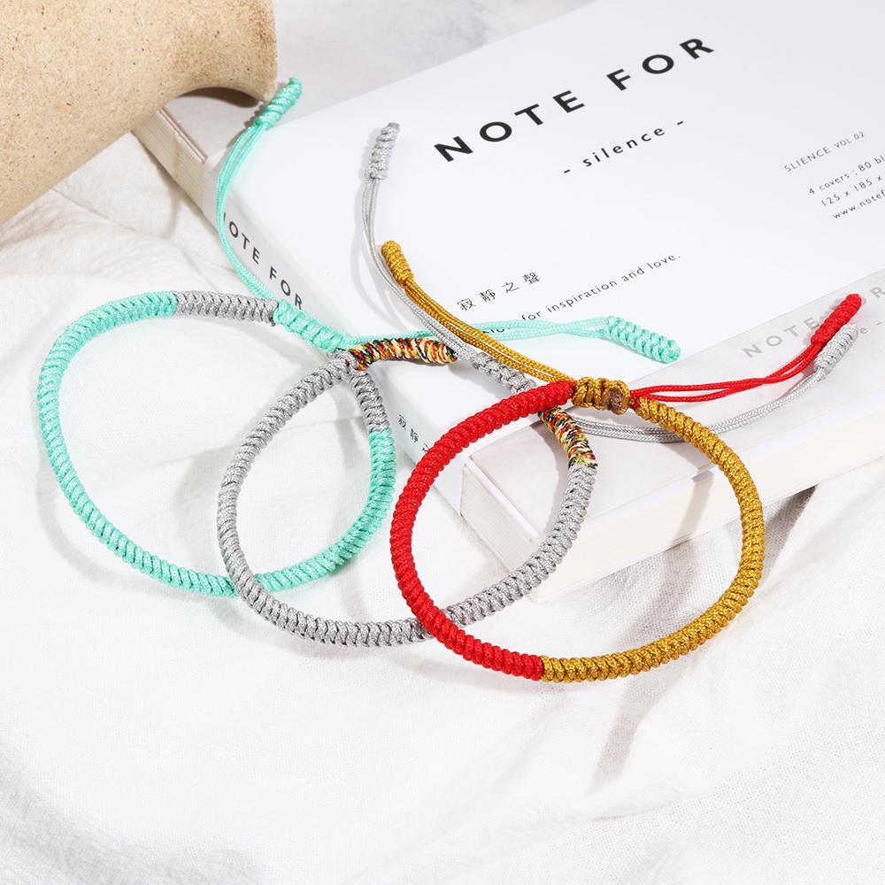 Fashion Tibetan Buddhist Knots Lucky Rope Bracelet Buddhism Adjustable Jewelry.