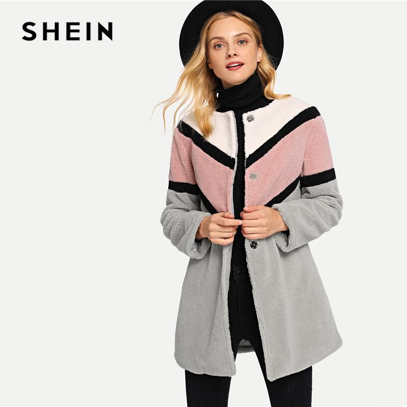 c8b5aff6dd 2019 SHEIN Multicolor Button Front Color Block Coat Casual Single Breasted  Long Sleeve Coats Women Minimalist Winter Outerwear From Cardigun, ...