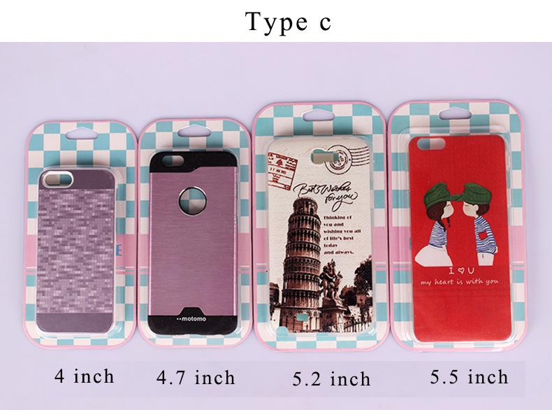 Mobile phone case packing bag 4,4.7,5.2,5.5 inch Plastic Retail packaging package pouch bag for mobile Cell phone Case accessories