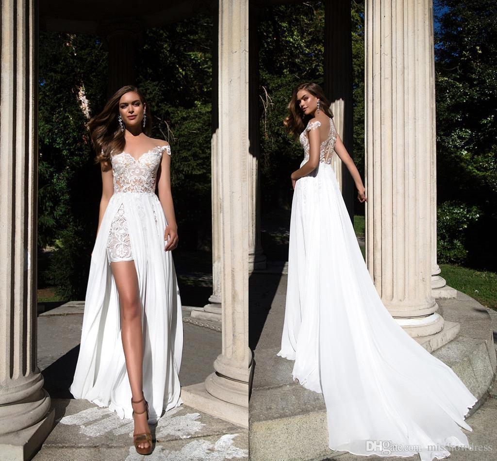 94dd13921bf 2018 Sheer Cap Sleeves Chiffon Sheath Wedding Dresses Lace Applique Split  Summer Beach Country Plus Size