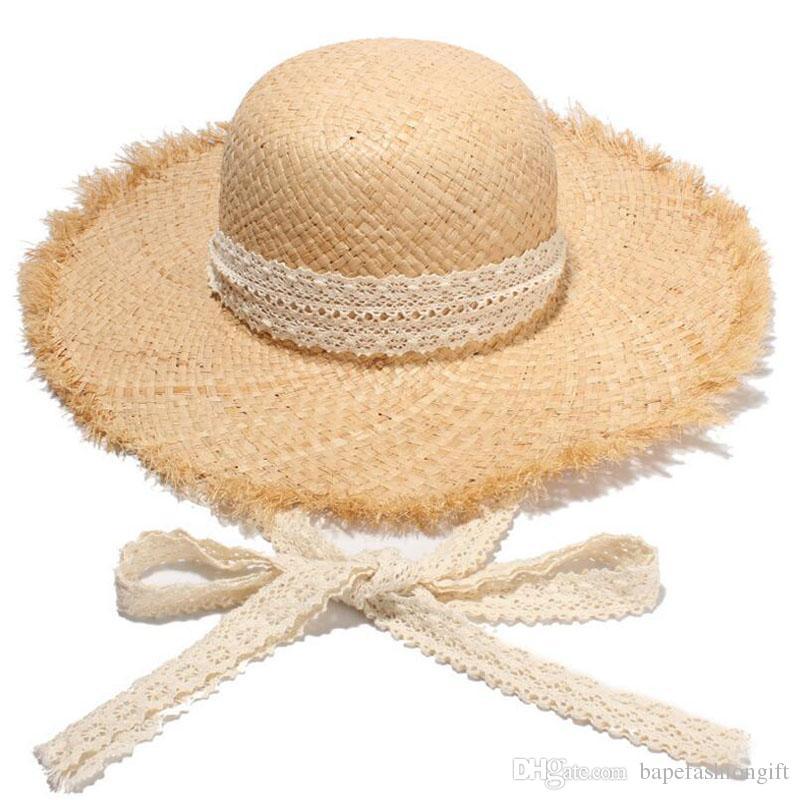 5e16477a Wide Brim Hats With Lace Bandage Fashion Summer Khaki Floppy Straw ...