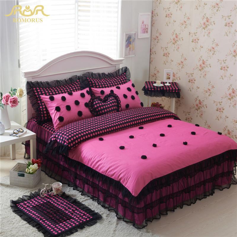 Romorus 100 Cotton Black Polka Dot Bedding Sets 4 For Girls Lace
