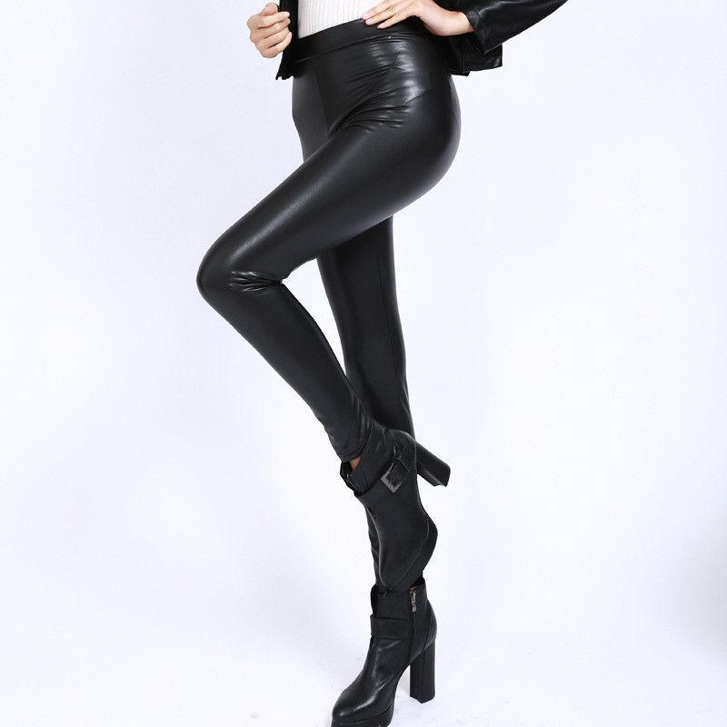 1ad2611be1439 2019 Womens Warm Winter Thick PU Leather Pant Skinny Slim Footless Leggings  Stretch Pants New Black Legging From Cagney