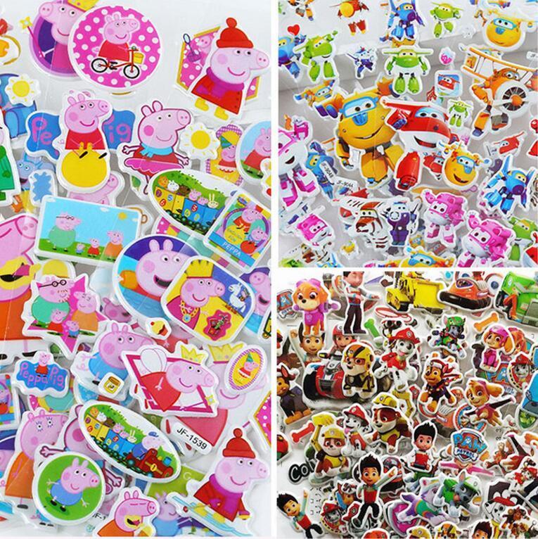 Más diseño 3D pegatinas de dibujos animados 7 * 17 cm fiesta decorativa libro pegatinas juego de papel regalo de los niños juguetes envío gratis