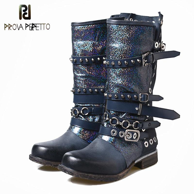 Prova Perfetto Amazing Quality Cow Leather Women's Winter Med Boots Shiny Leather Rivets With Belt Buckle Mid-calf Boots Female