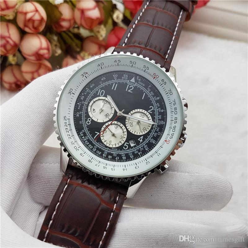 2018 Hot 3 Dials Working Quartz Watch Top Mens Leather Chronograph Wristwatches Stainless Steel Classic Pilot Relogio Relojes
