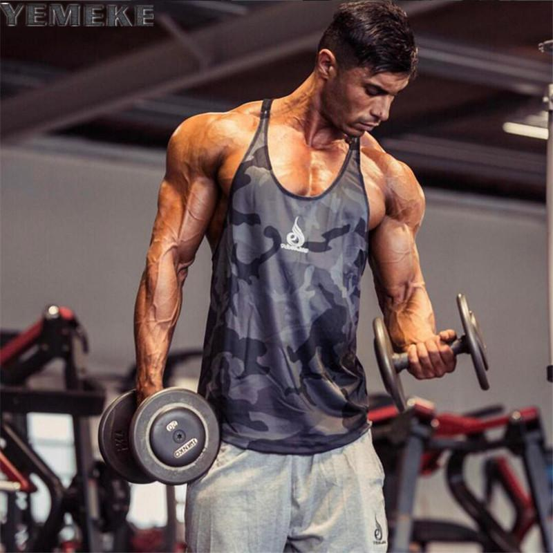 f5d63cfceeee1 2019 Wholesale YEMEKE Mens Tank Tops Bodybuilding Equipment Fitness Brand  Singlets Men S Tank Shirts Clothes White Blue Red Camouflage Camou From  Manxinxin