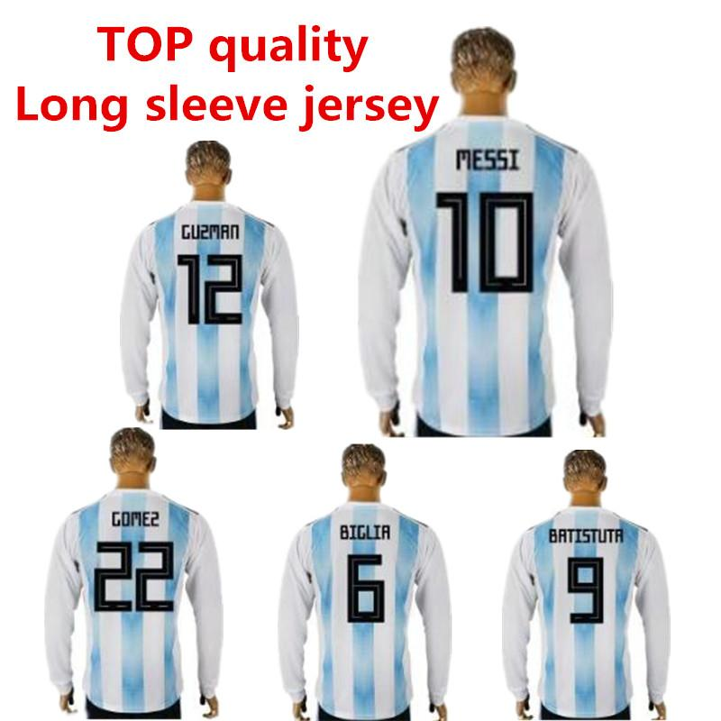 2019 2018 2019 World Cup Argentina Long Sleeve Soccer Jersey 1819 MESSI DI  MARIA AGUERO KOMPANY DYBALA Higuain Home Jersey ICARDI Football Shirts From  ... 9578eba21