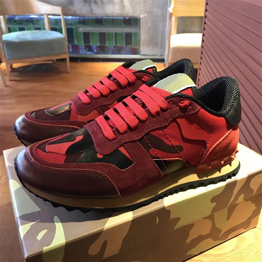 f74a8b54e5861 Garavani Camouflage Rockrunner Trainer Lace Sneaker Fabric Canvas Leather  Outdoor Running Shoes Sneakers Casual Shoes For Flat Feet 213 Sneakers  Online Deck ...