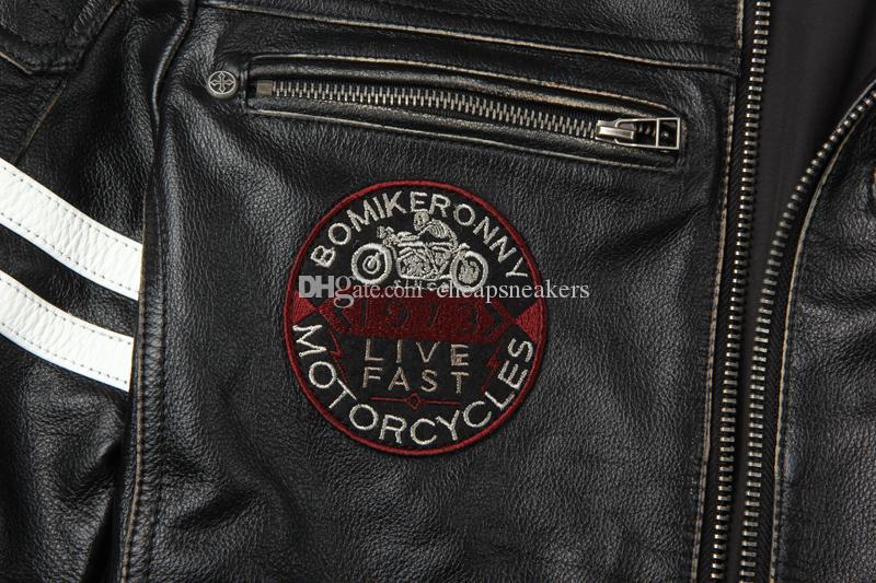 Nuevo abrigo de moto para hombre con cuero genuino Juego de carreras de motor con borde chaqueta de cuero Harley Fashion vintage