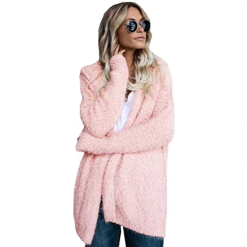 Damen jacke herbstjacke cardigan mantel mit kapuze