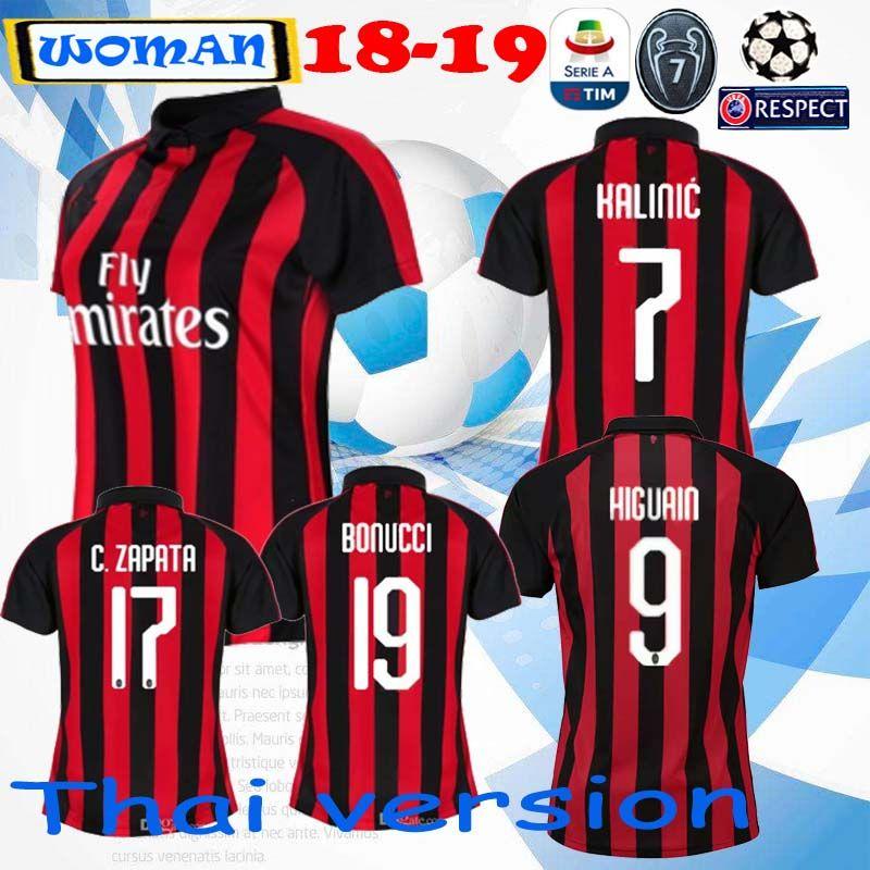 2019 AC Milan 18 19 WOMAN Soccer Jersey 2018 2019 Football Shirt HIGUAIN  BAKAYOKO BORINI KESSIE CALDARA CUTRONE Camisa CALHANOGLU BONAVENTURA From  ... 037932e349413