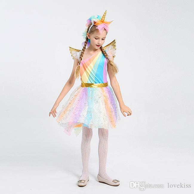 Halloween cosplay Girl Clothes Costume Unicorn Girls Dresses Childrens Princess Dresses angel's wings Summer Dresses kids clothing A1947