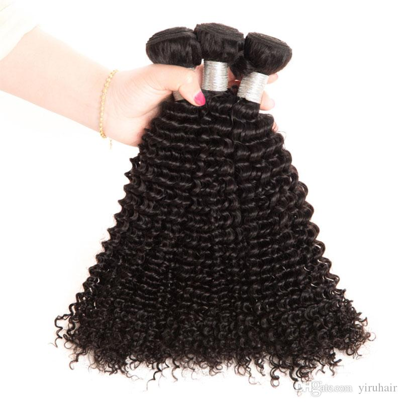Cheveux vierges brésiliens crépus bouclés 4 faisceaux de cheveux humains pas cher 4piecs / Couleur naturelle Double Trames Extensions Crépus bouclés