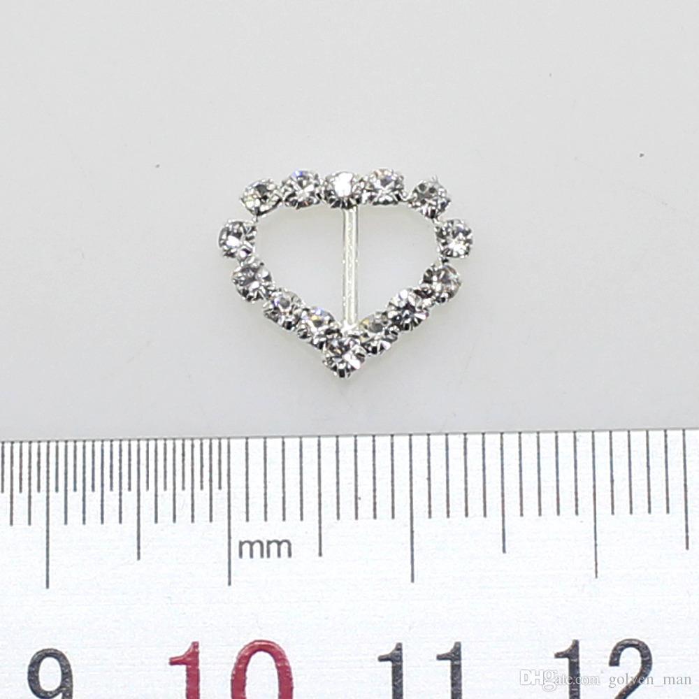Mode chaude / 17mm Boucle De Coeur Argent Complet de cristal De Mariage Decoraion Invitation Ruban Bijoux Accessoire en gros