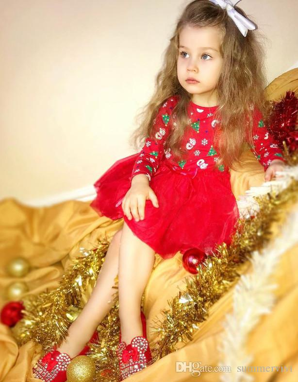 97c231804289 INS Girls Christmas Dress New Children Snowman Christmas Tree ...