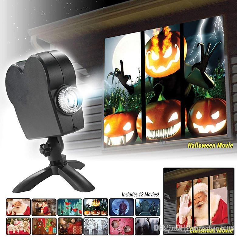 christmas halloween window decoration led movie display projector effect light 12 movies showing on window perfect for holiday decorations dj lighting dj