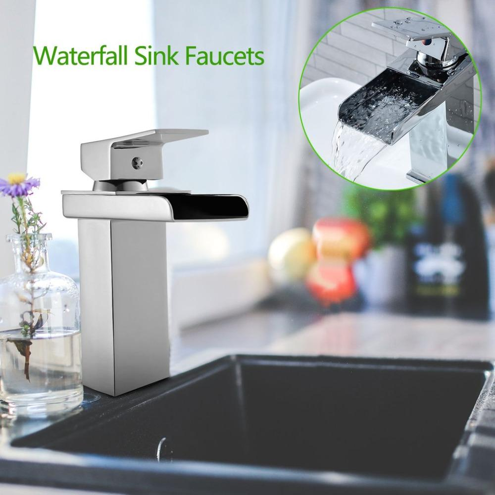 Waterfall Design Chrome-plating Polished Tap Sink Faucet Square Modern  Bathroom Toilet Wash Basin Sink Single Hole Faucet