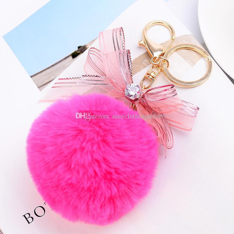 Rabbit Fur Ball Fluffy Round Ball with Ribbon 5 Shape Accessories Rose Gold Plated Metal Keychain Keyring Car Key Chains Handbag Charms Gift