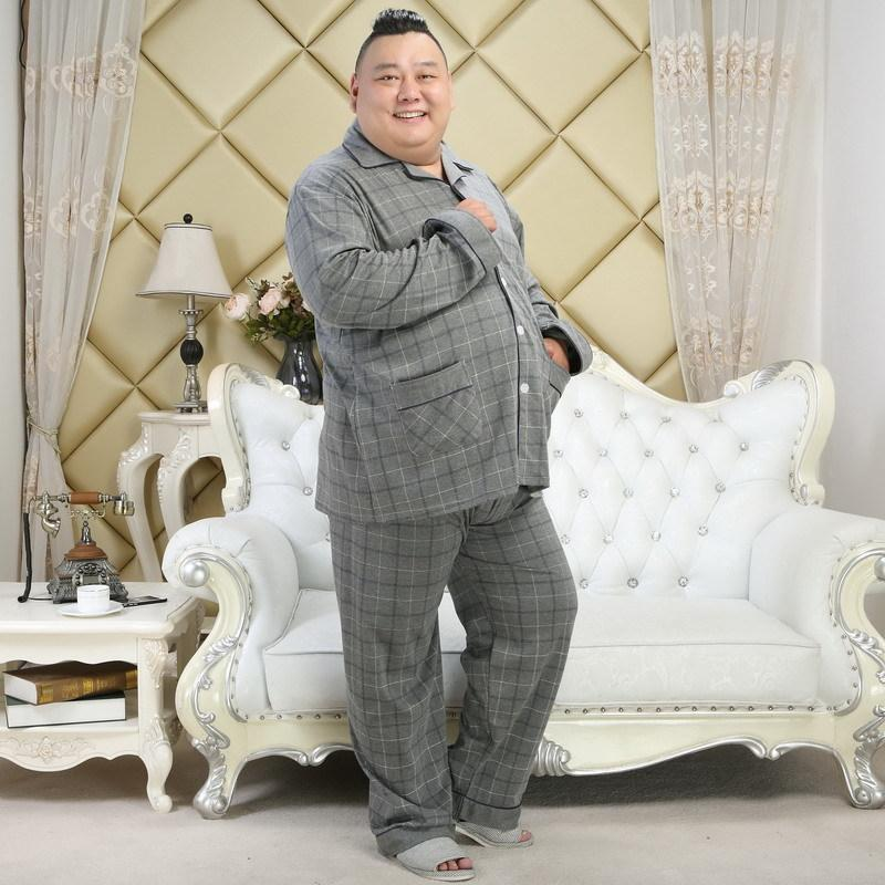 Plus Size XXXXXL 100% cotton men pajama sets spring Simple plaid mens Sleepwear pijamas pyjamas homme casual night wear for men